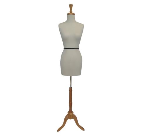 White Female Dressmakers Mannequin Adjustable Wood Stand