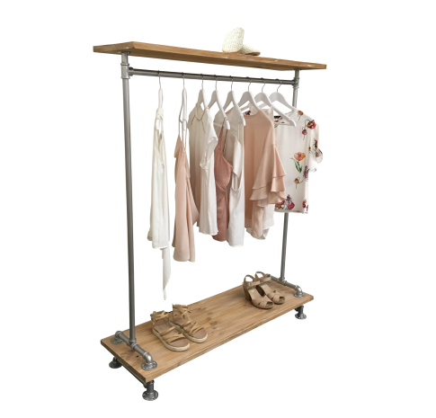 Industrial Pipe Clothes Rack Wood Shelf Rax And Dollies