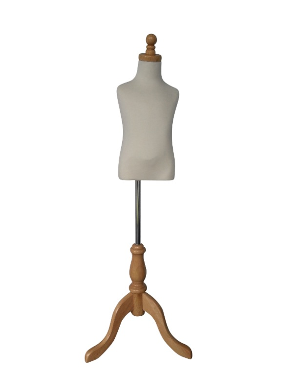 Medium Child Dressmakers Mannequin Torso With Wooden Stand